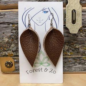 Leather leaf style dangle earrings